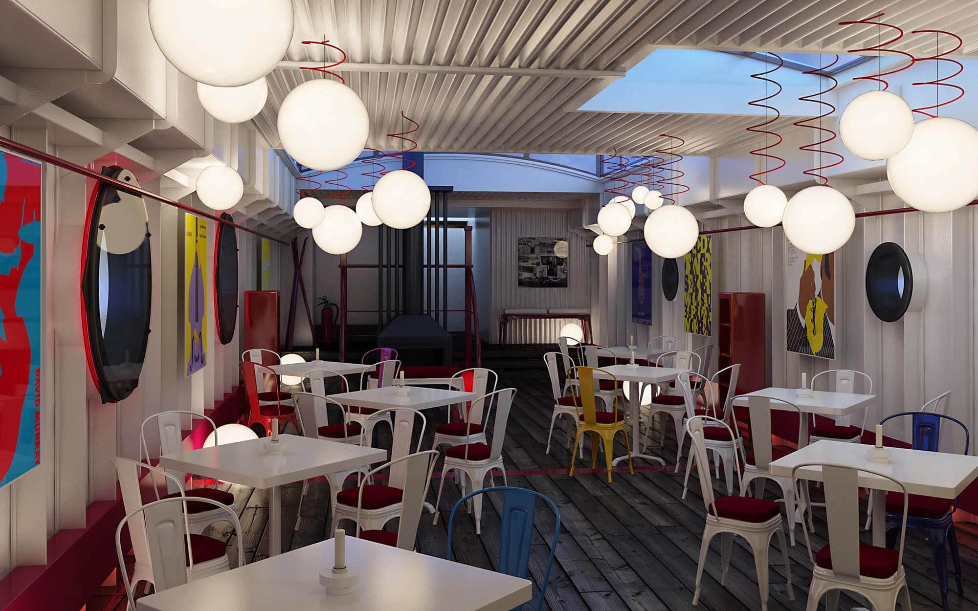 Wizualizacje wnętrz restauracji w Paryżu, proj. smallna