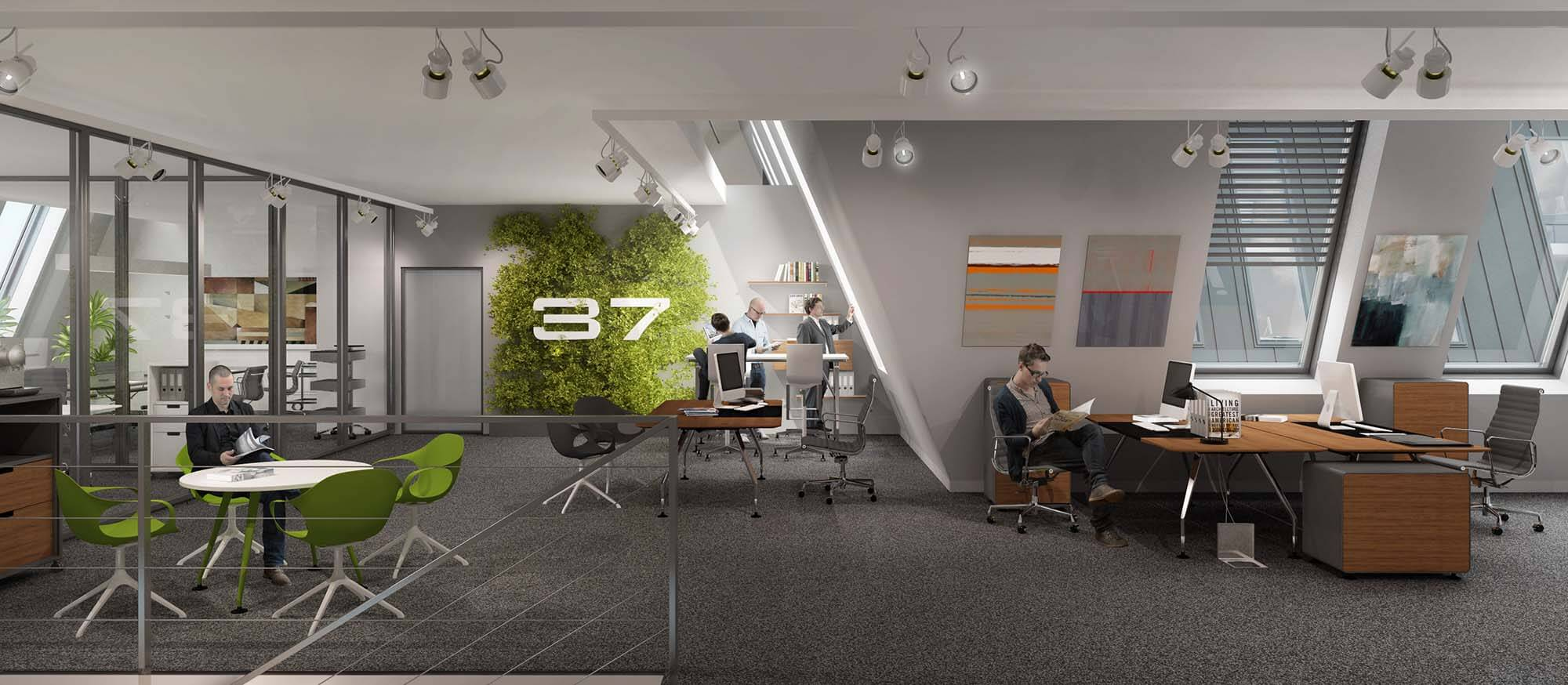Wizualizacje wnętrz budynku biurowego Poznańska 37