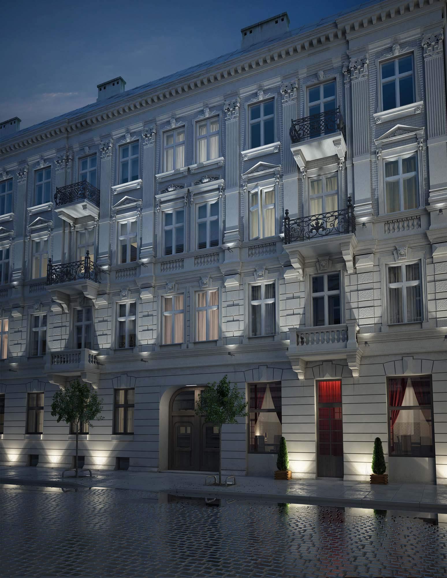 Wizualizacje architektoniczne - renowacja kamienicy przy ulicy Wilczej w Warszawie