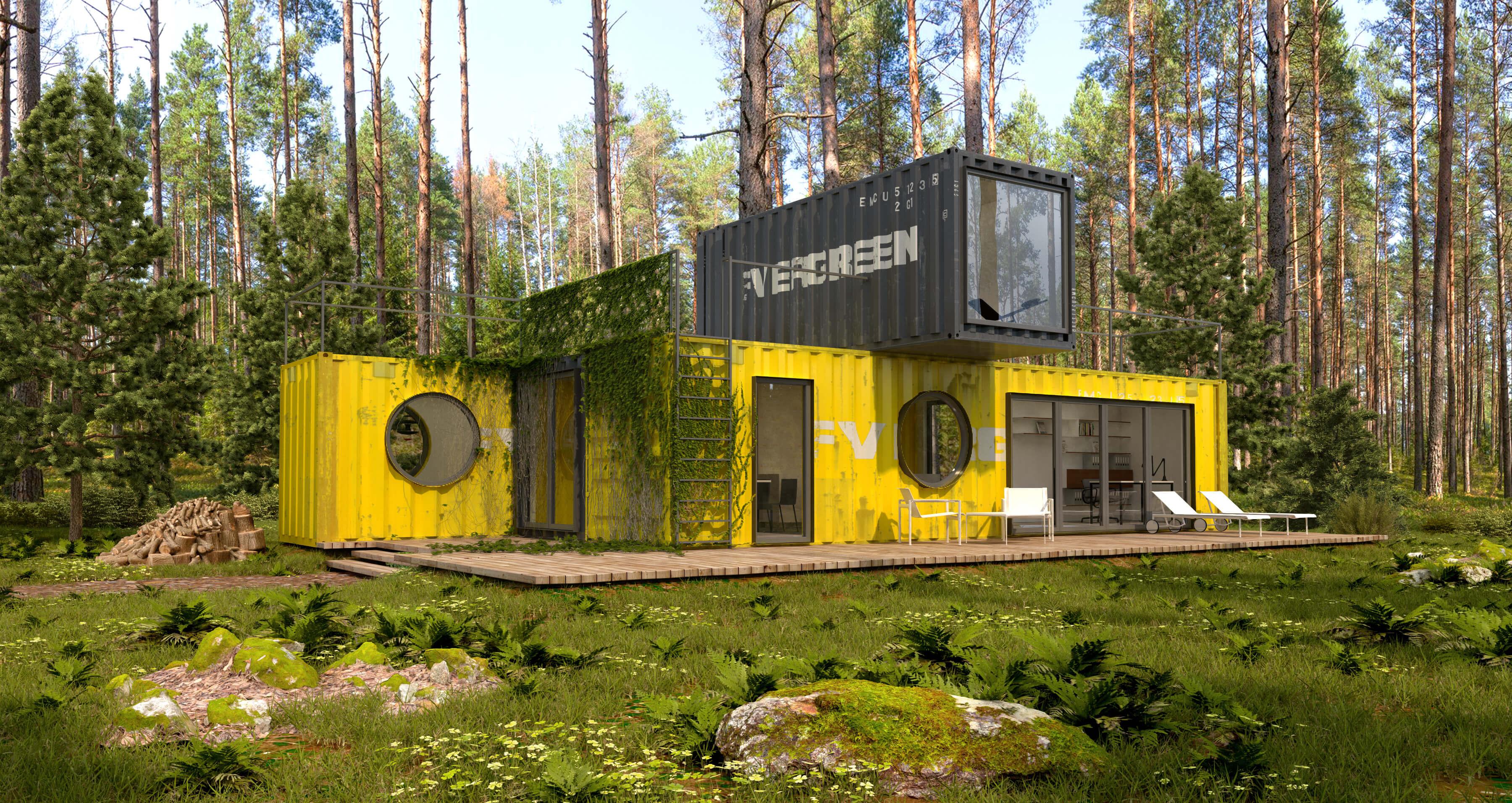 Wizualizacje architektoniczne domu z kontenerów, proj. smallna