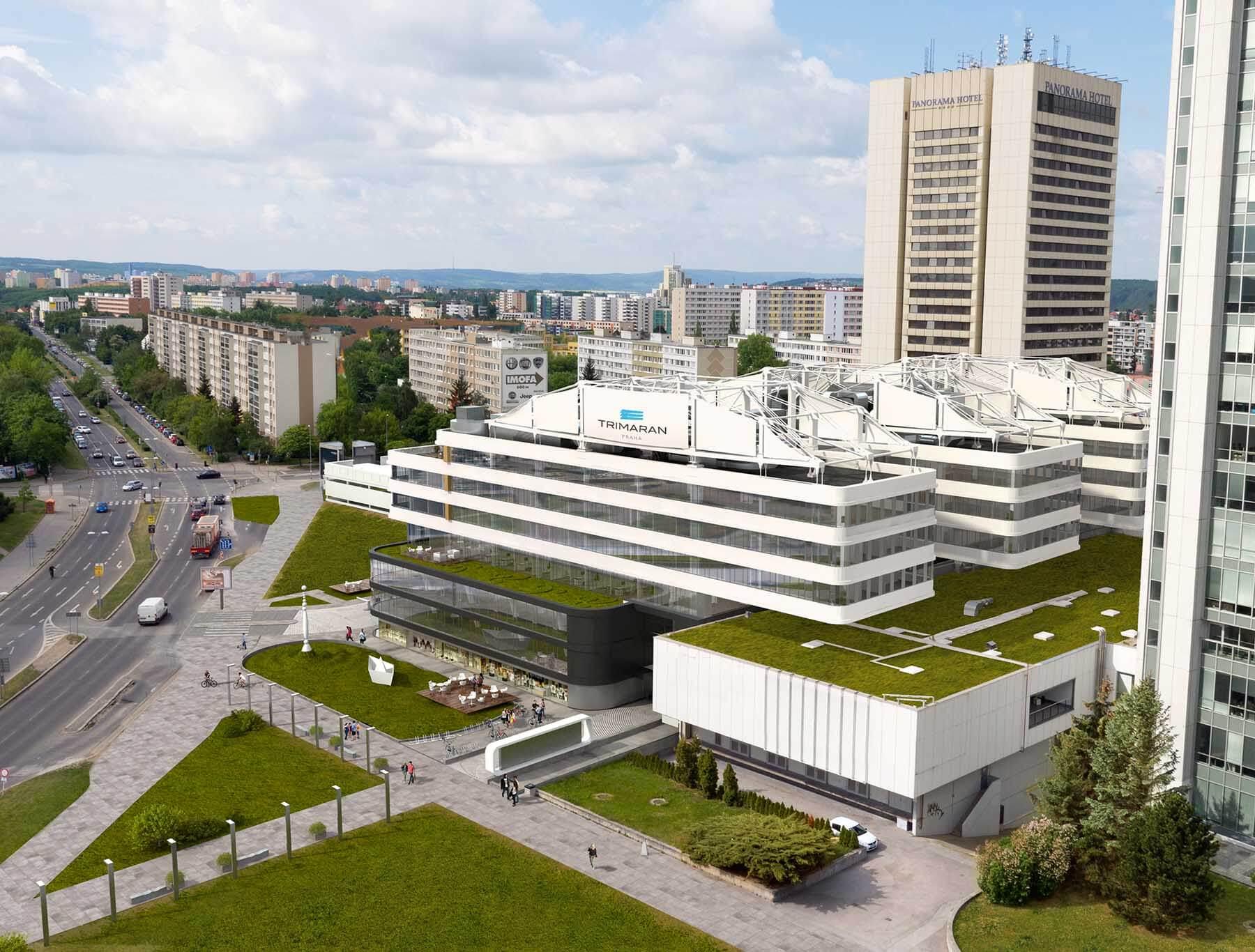 Wizualizacje z lotu ptaka budynku biurowego Trimaran Praha