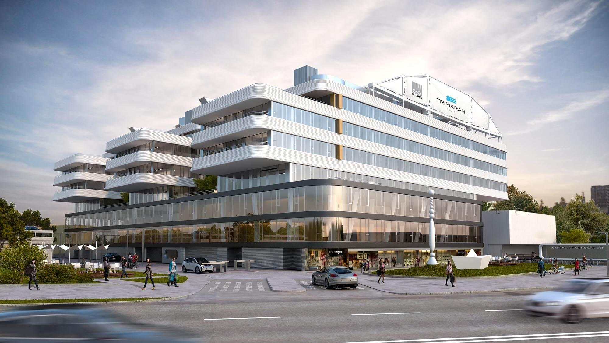 Wizualizacje architektoniczne budynku biurowego Trimaran Praha, Hoffmann - Janz Ziviltechniker-GmbH