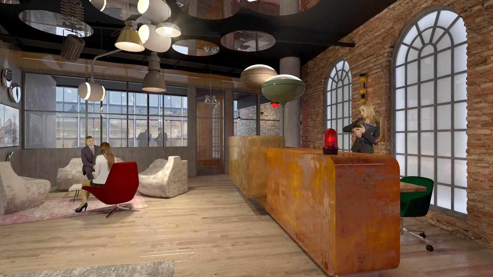 Animacja 3D wnętrza pow. biurowej w elektrowni Powiśle